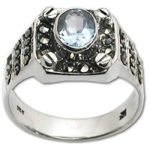 Jewelry - Sterling Silver Marcasite Blue CZ Cubic Zirconia S